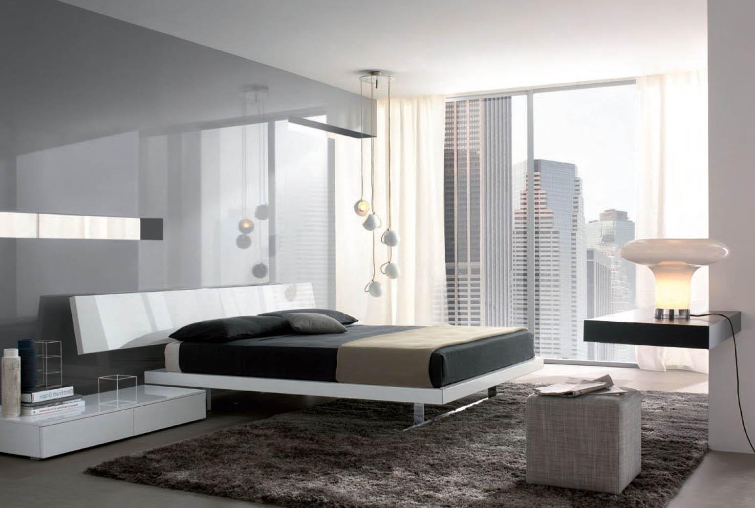 Потолочные и настольная лампы в стиле хай-тек в интерьере спальни