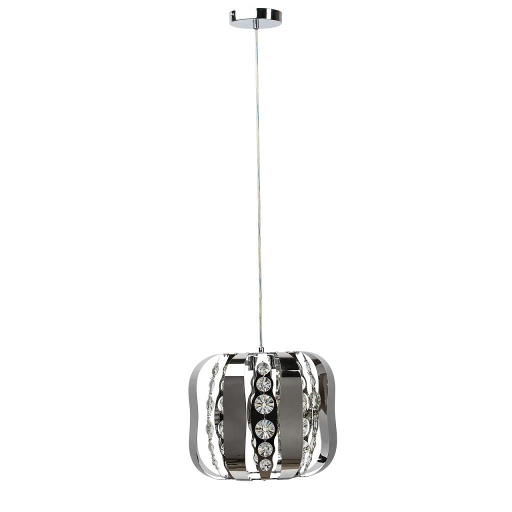 Металлическая подвесная лампа с кристаллами