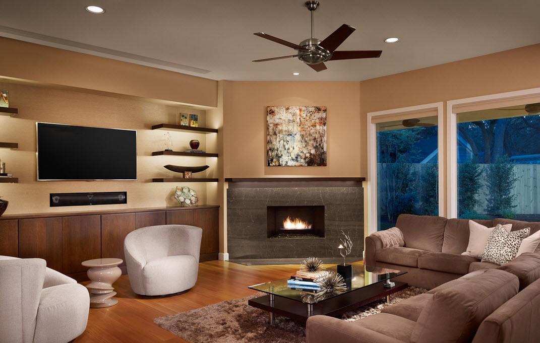 Угловой электрический камин в гостиной в современном стиле