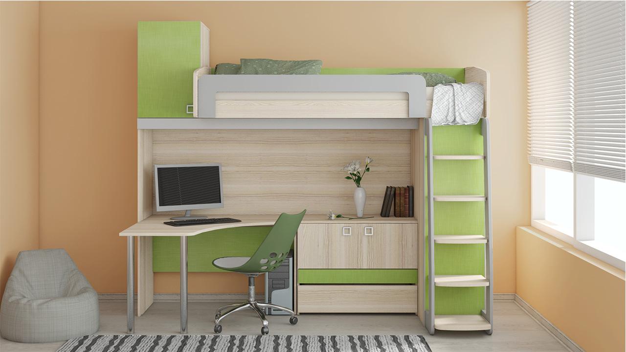 Кровать и рабочее место в комнате