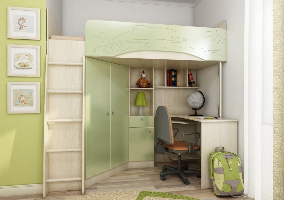 Бежево-зеленый вместительный уголок школьника