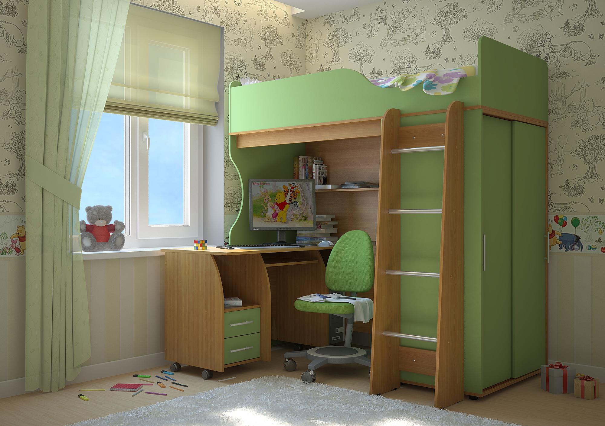 Коричнево-зеленая кровать-чердак с рабочим местом