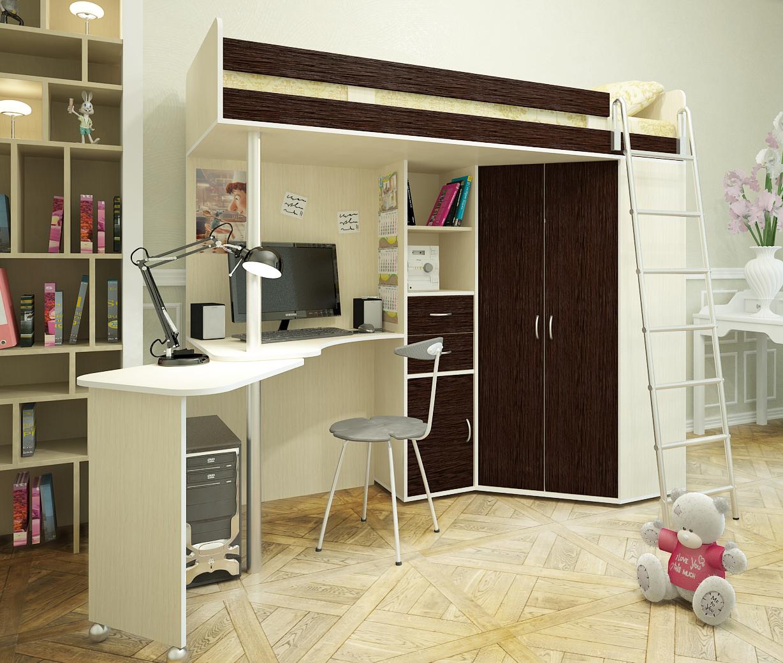 Коричнево-белая кровать-чердак с рабочим местом