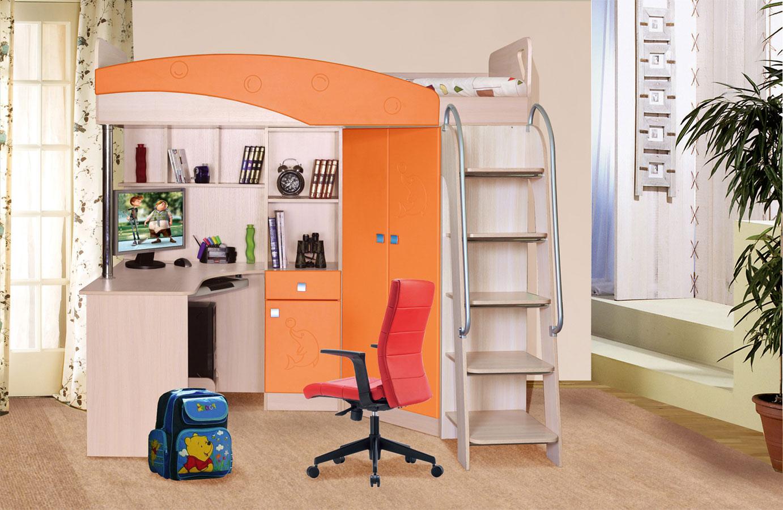 Оранжево-бежевая кровать-чердак с рабочим местом