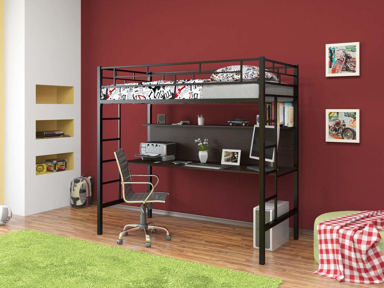 Кровать-чердак и рабочее место в детской комнате