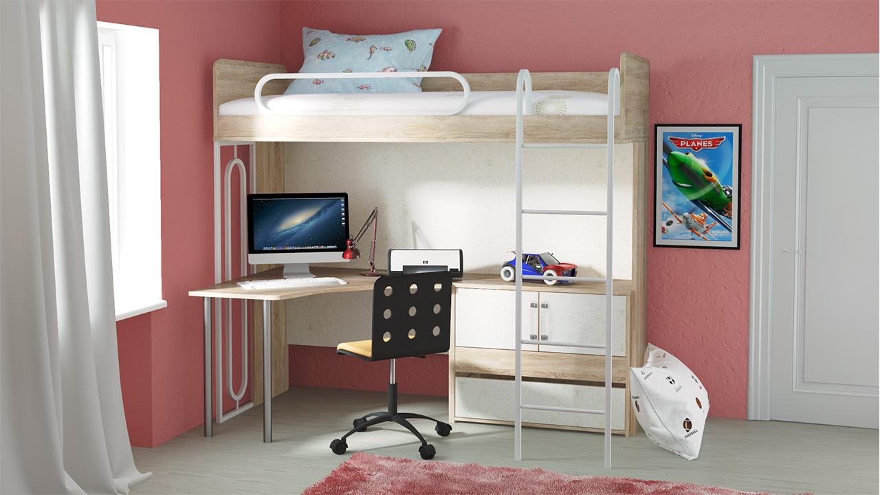 Кровать-чердак и рабочее место в комнате школьника