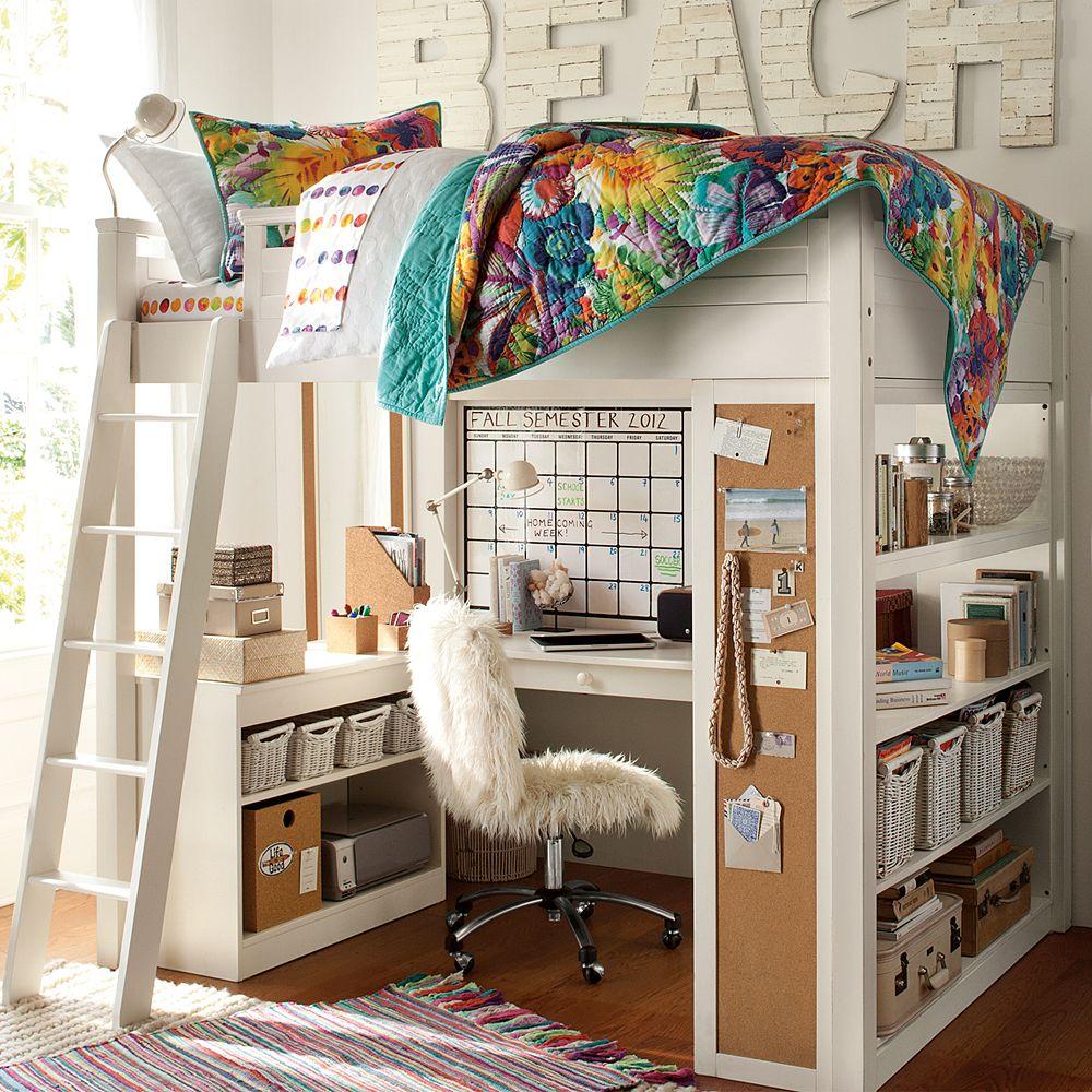 Белая кровать-чердак с учебным местом внизу