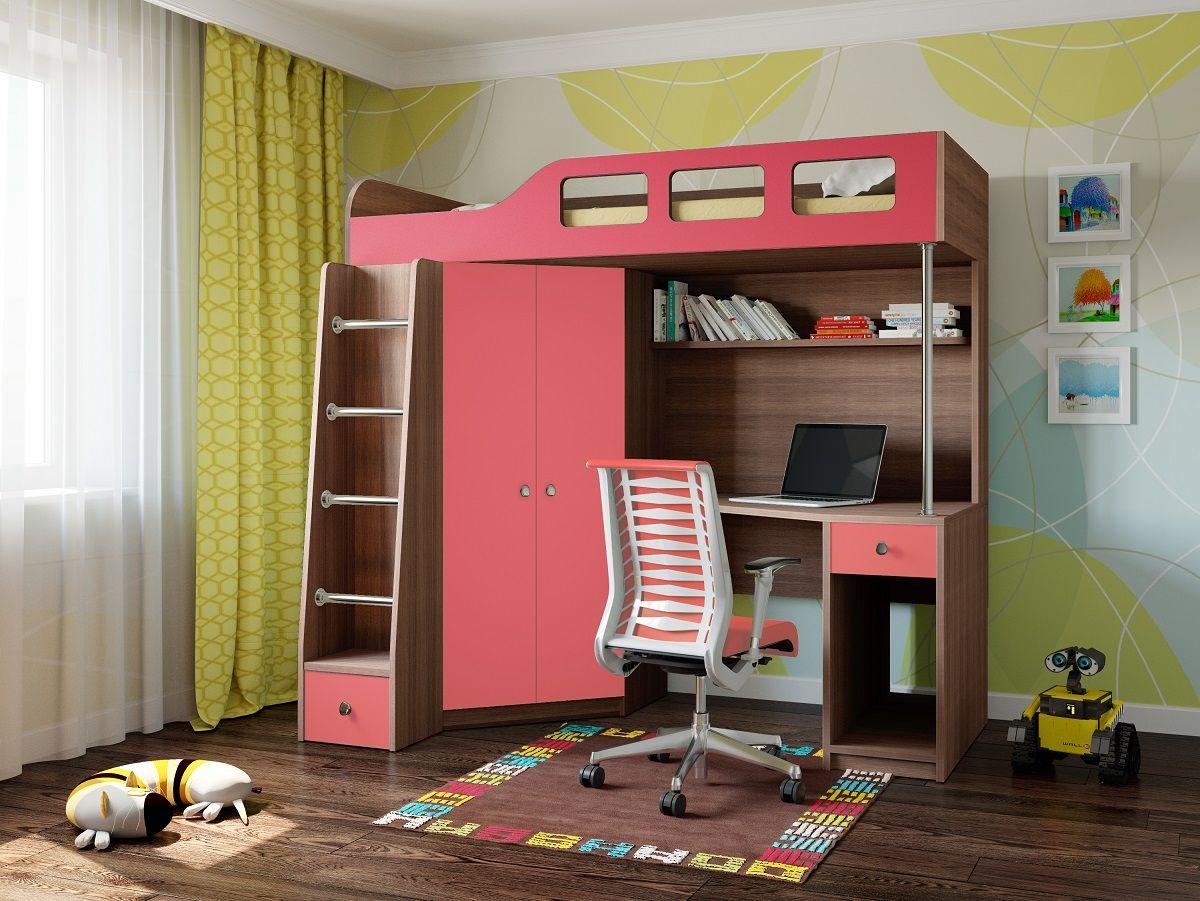 Розово-коричневая кровать-чердак