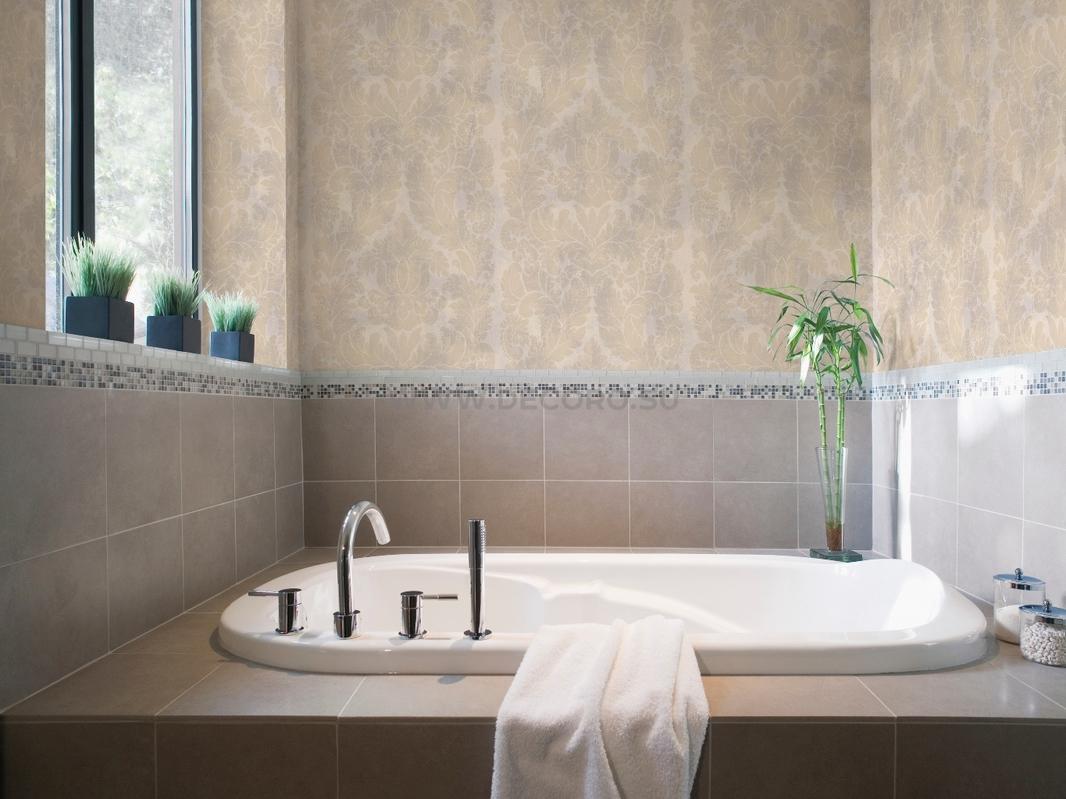 Виниловые обои и плитка в ванной