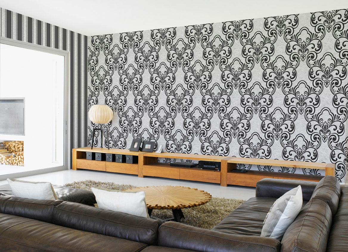 Черно-белые виниловые обои с узором в гостиной