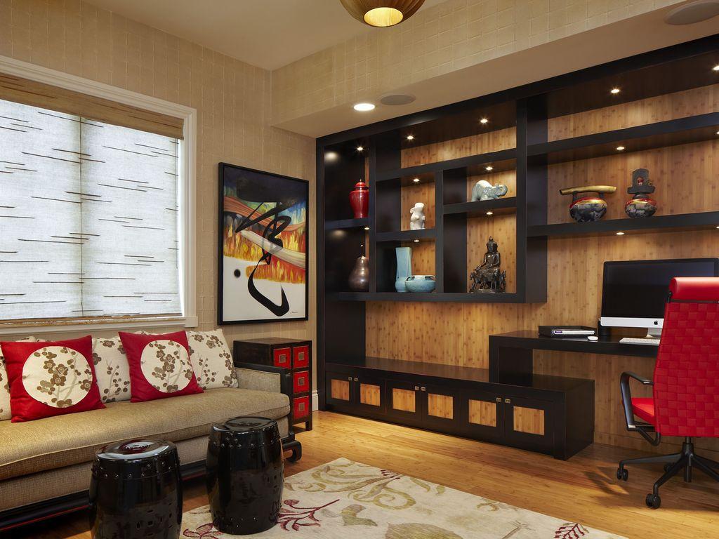 Стеллаж для гостиной в восточном стиле