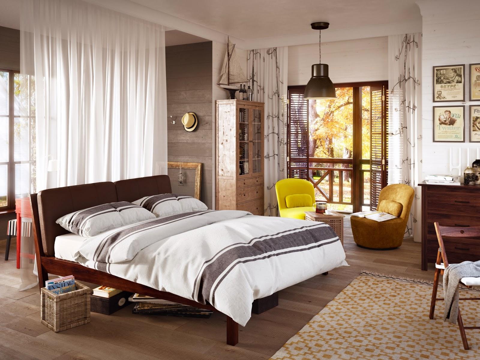 Коричневые жалюзи в спальне