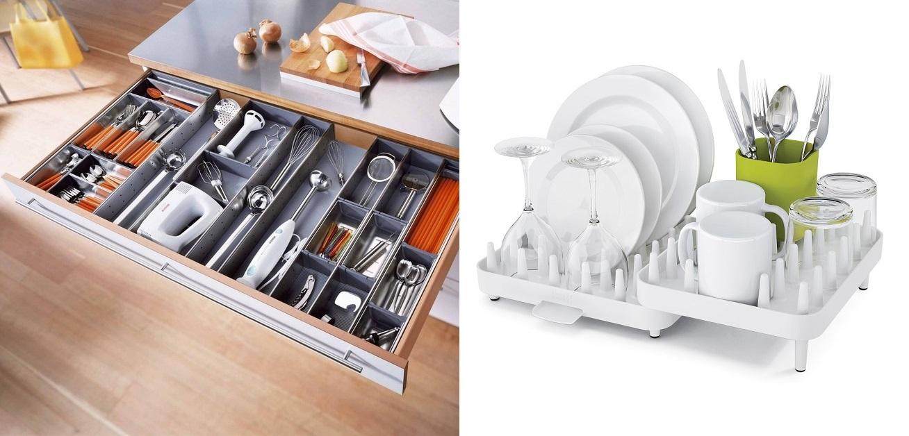 Удобная система хранения посуды на кухне
