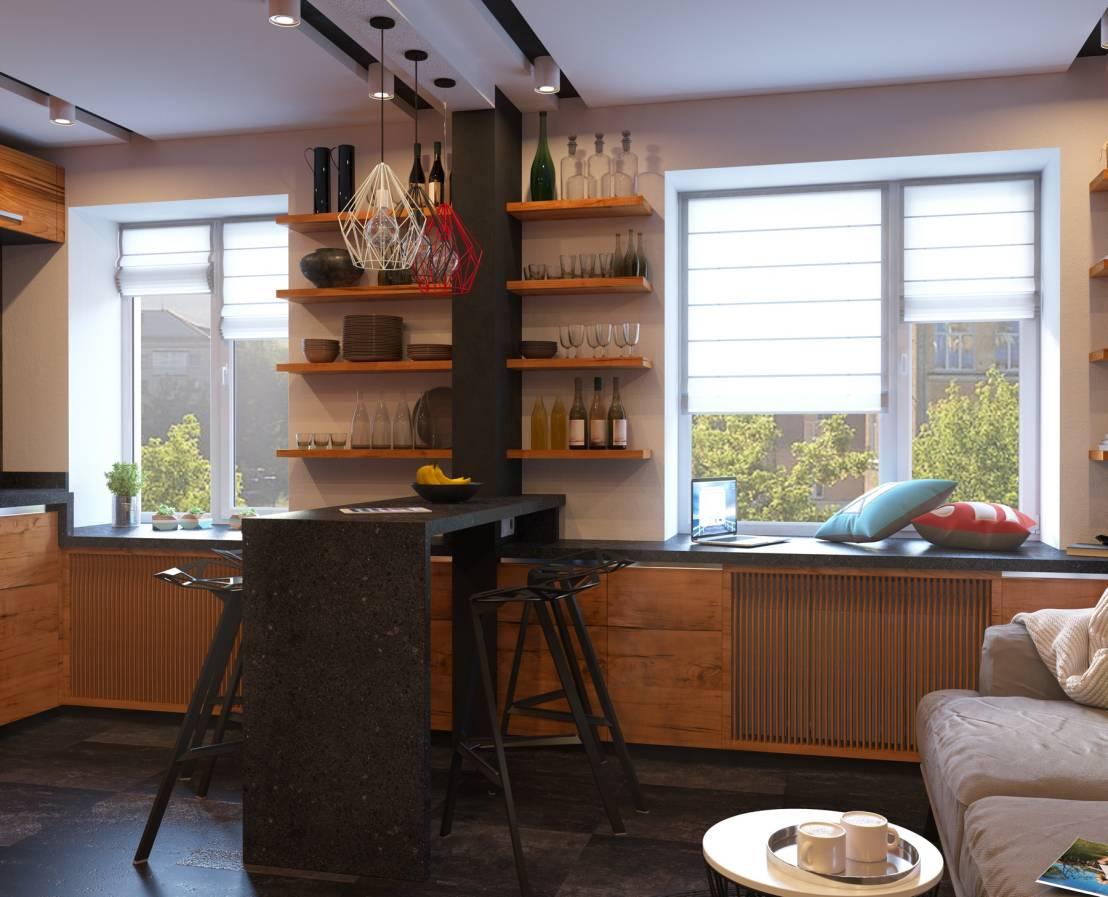 Полки около барной стойки на кухне