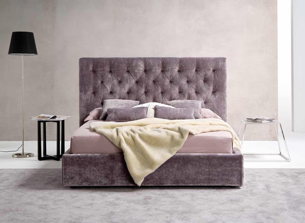 Кровать с мягким изголовьем бархатным
