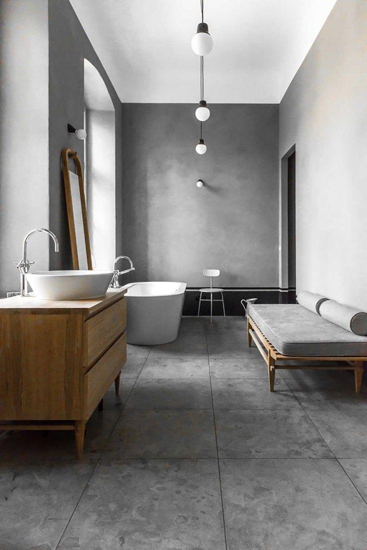 Покраска стен в ванной под бетон