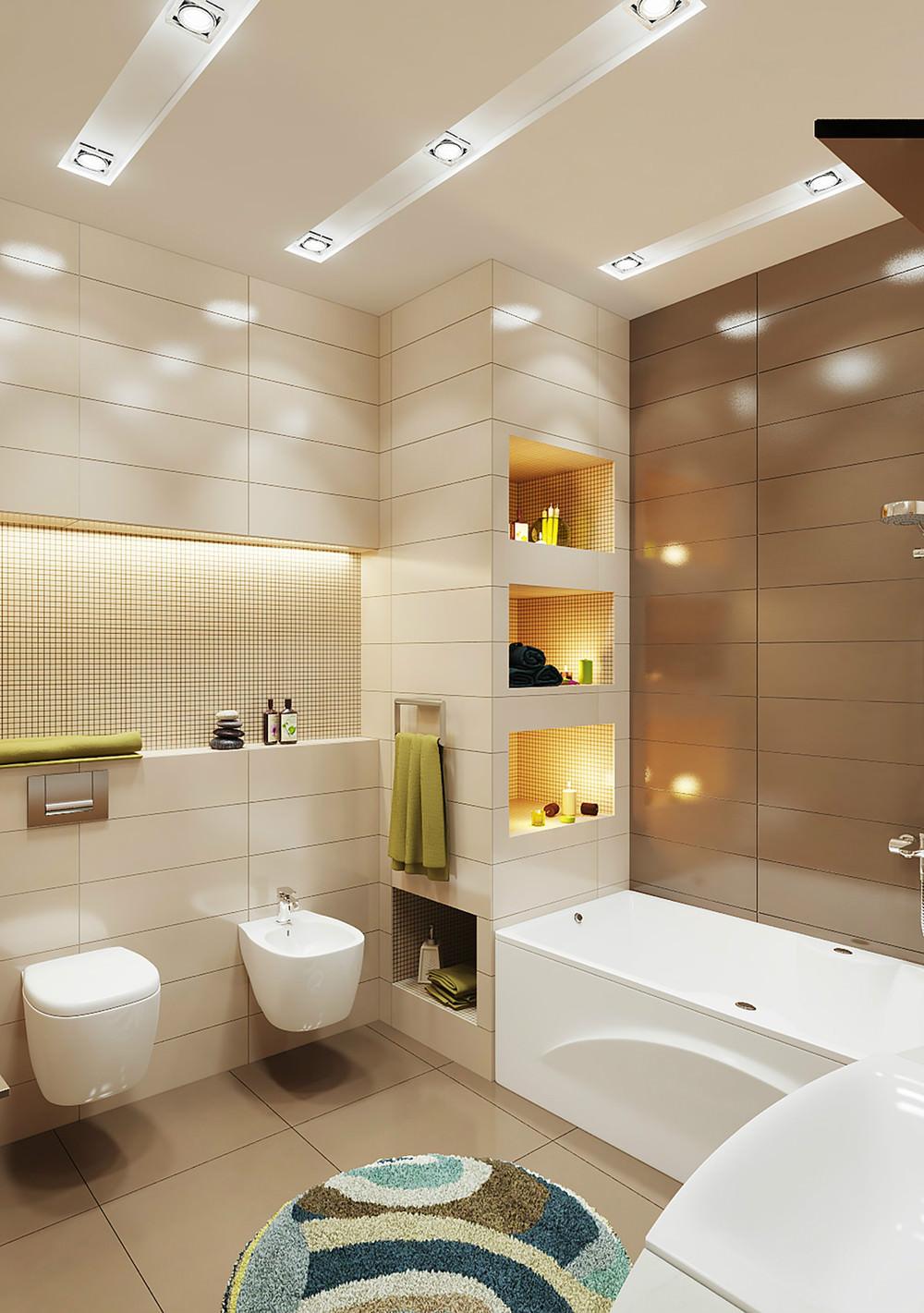 Просторная бежево-коричневая ванная комната