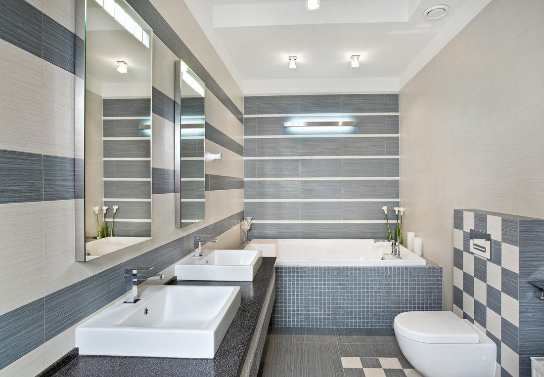 Бежево-серая ванная комната
