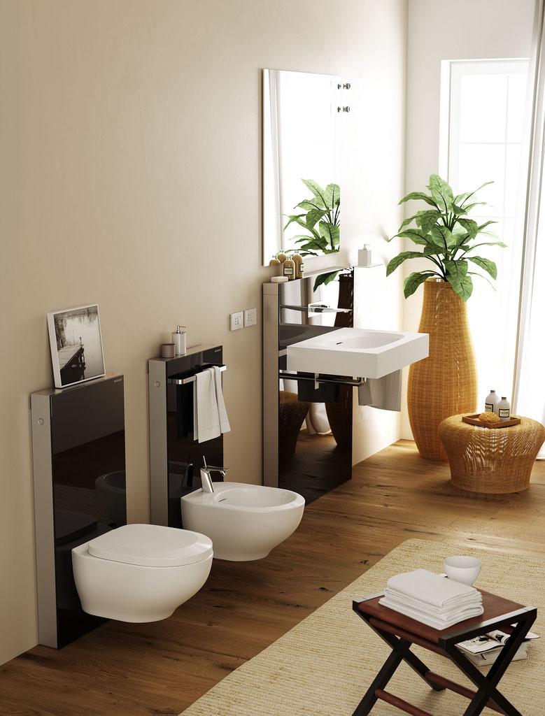 Бежево-коричневая ванная комната в эко-стиле