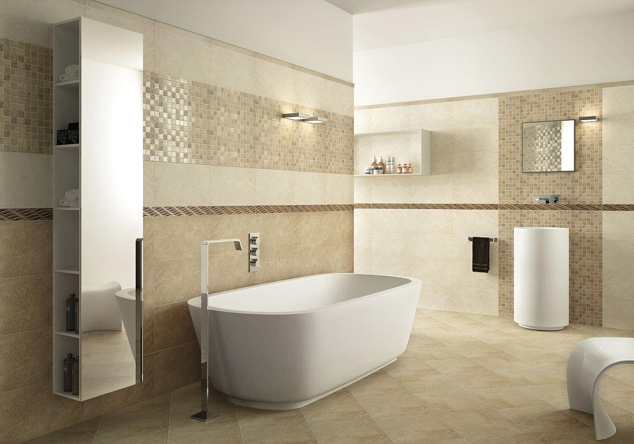 Бежевая ванная комната с белой сантехникой
