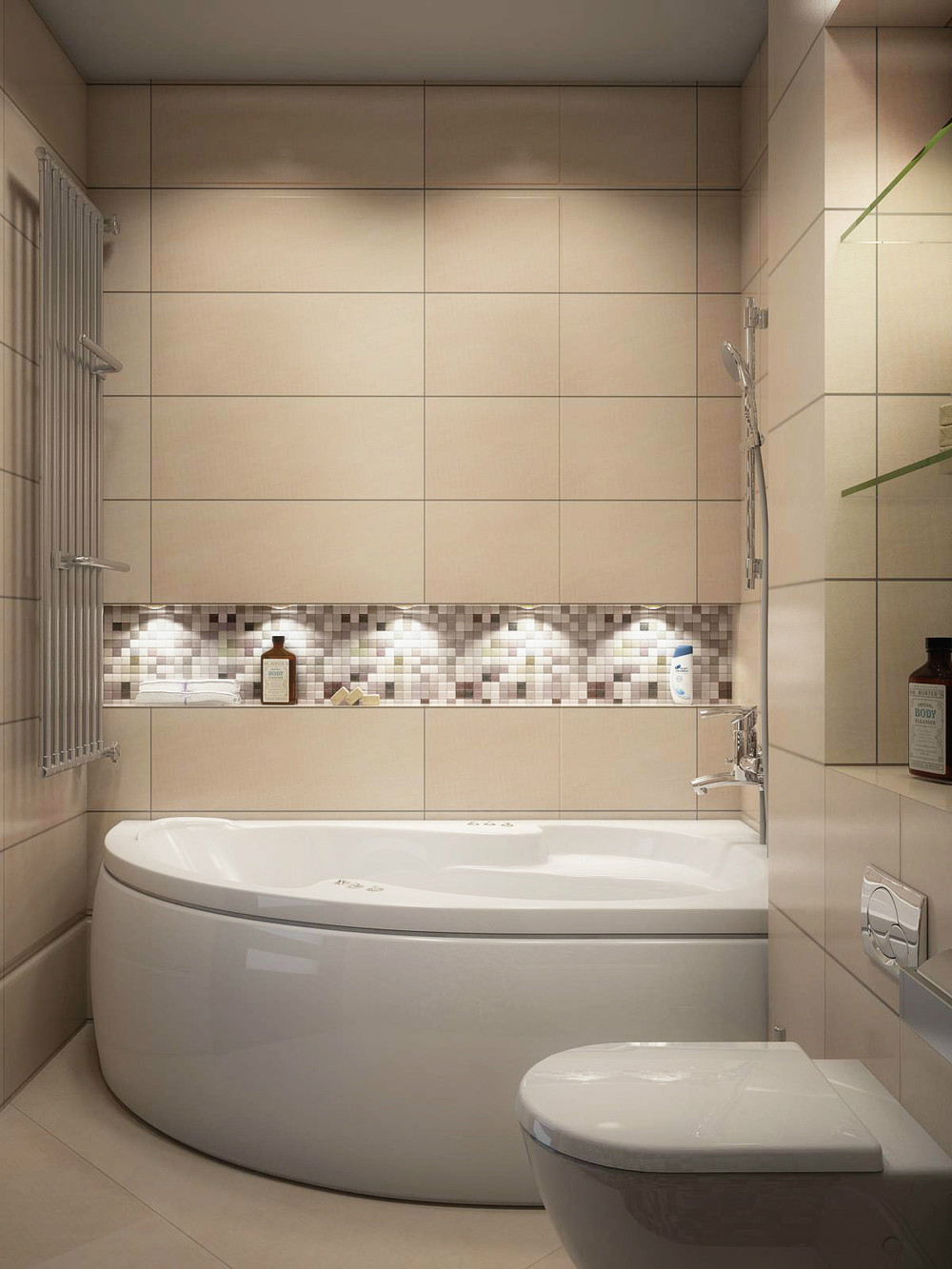 Бежево-белая ванная комната с мозаикой