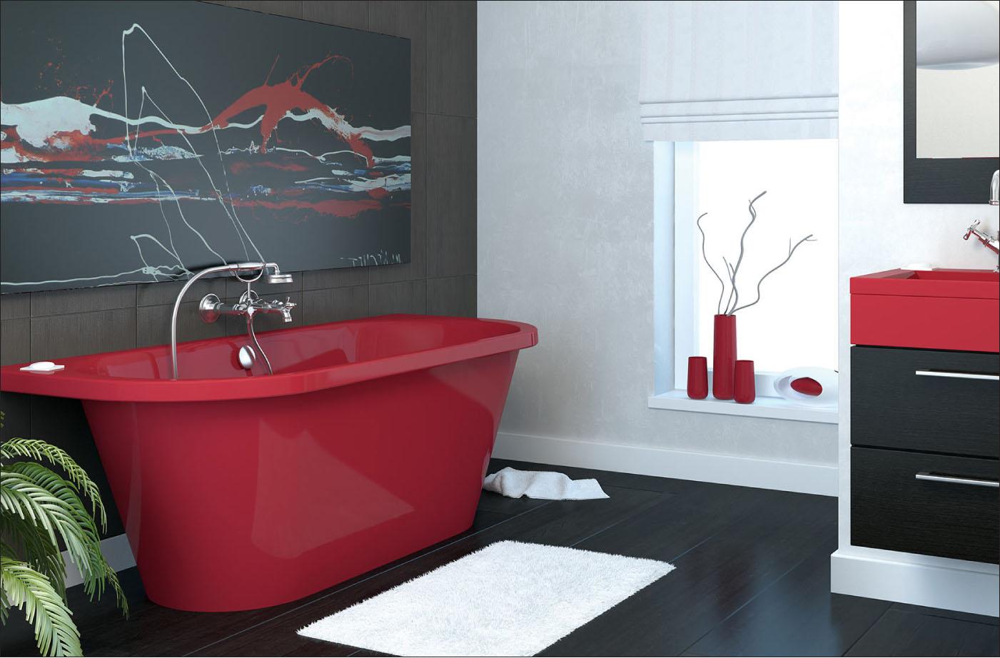 Красная модная ванная