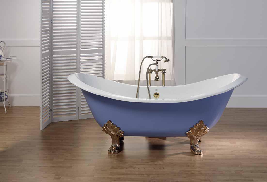 Чугунная синяя ванна