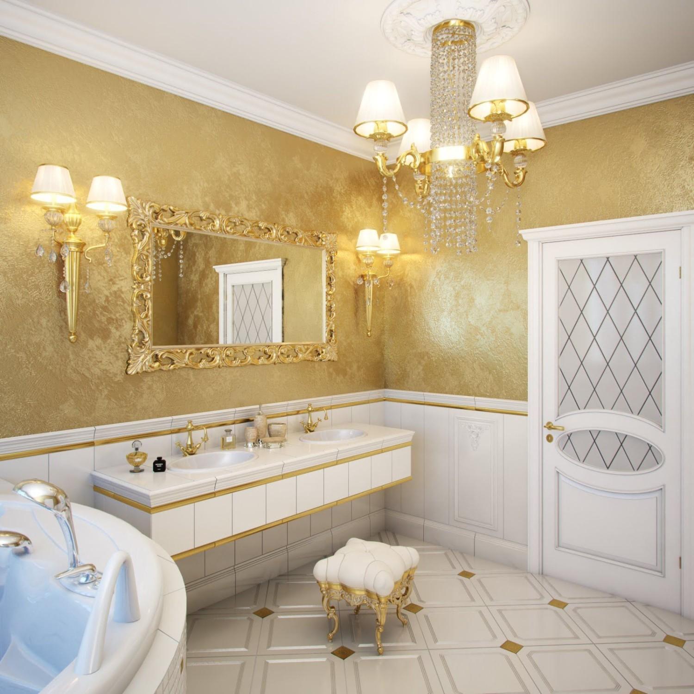 Золотистая декоративная штукатурка в ванной