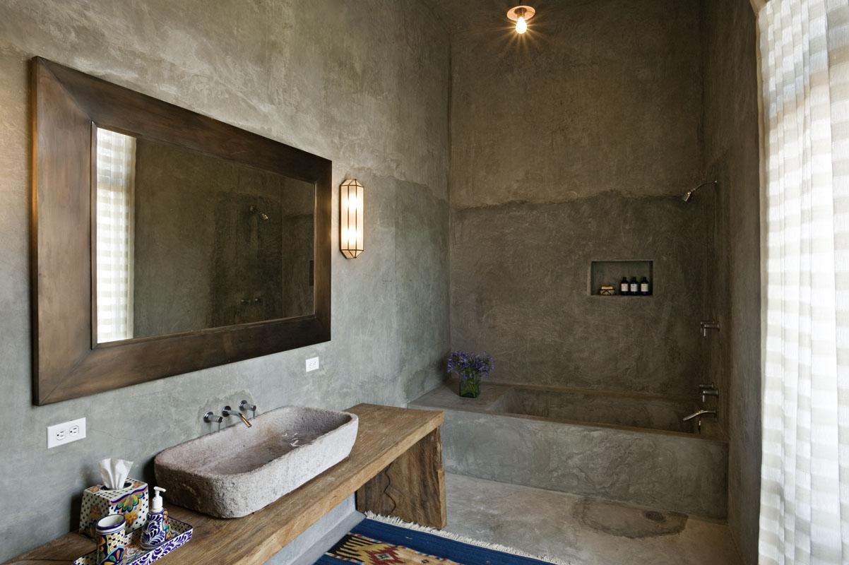 Необычная декоративная штукатурка в ванной