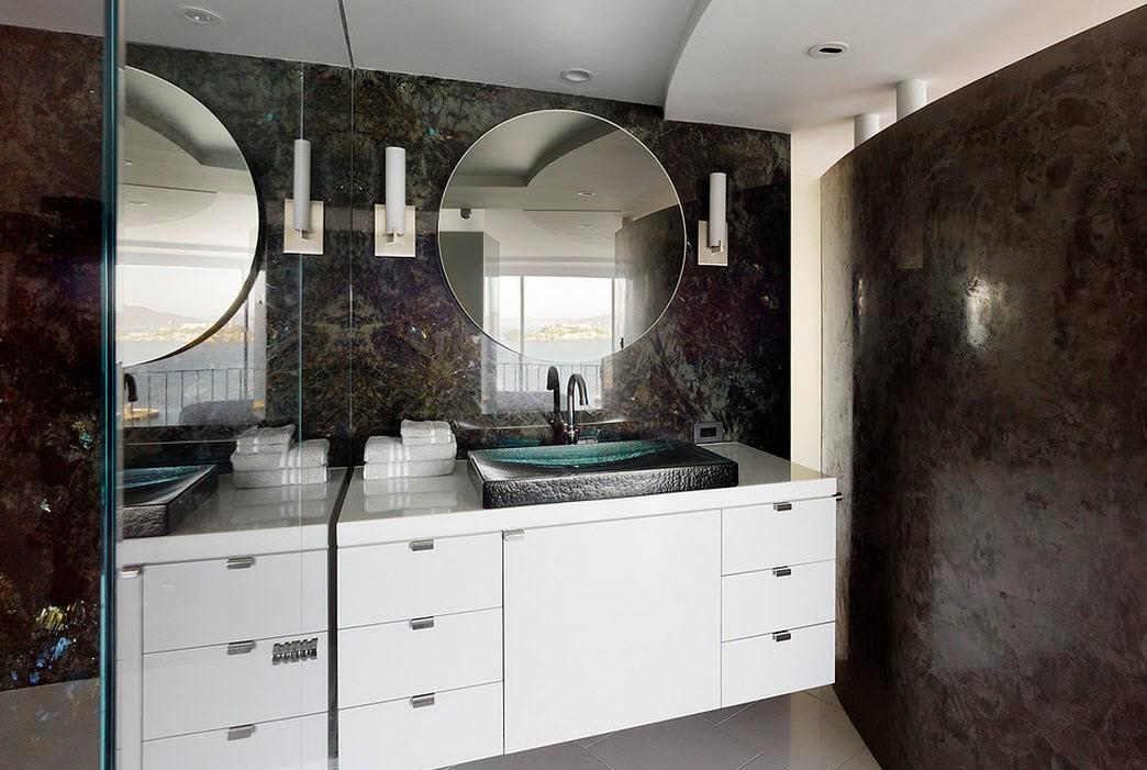 Черная декоративная штукатурка в отделке ванной