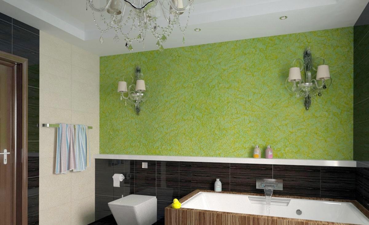 Зеленая декоративная штукатурка в отделке ванной