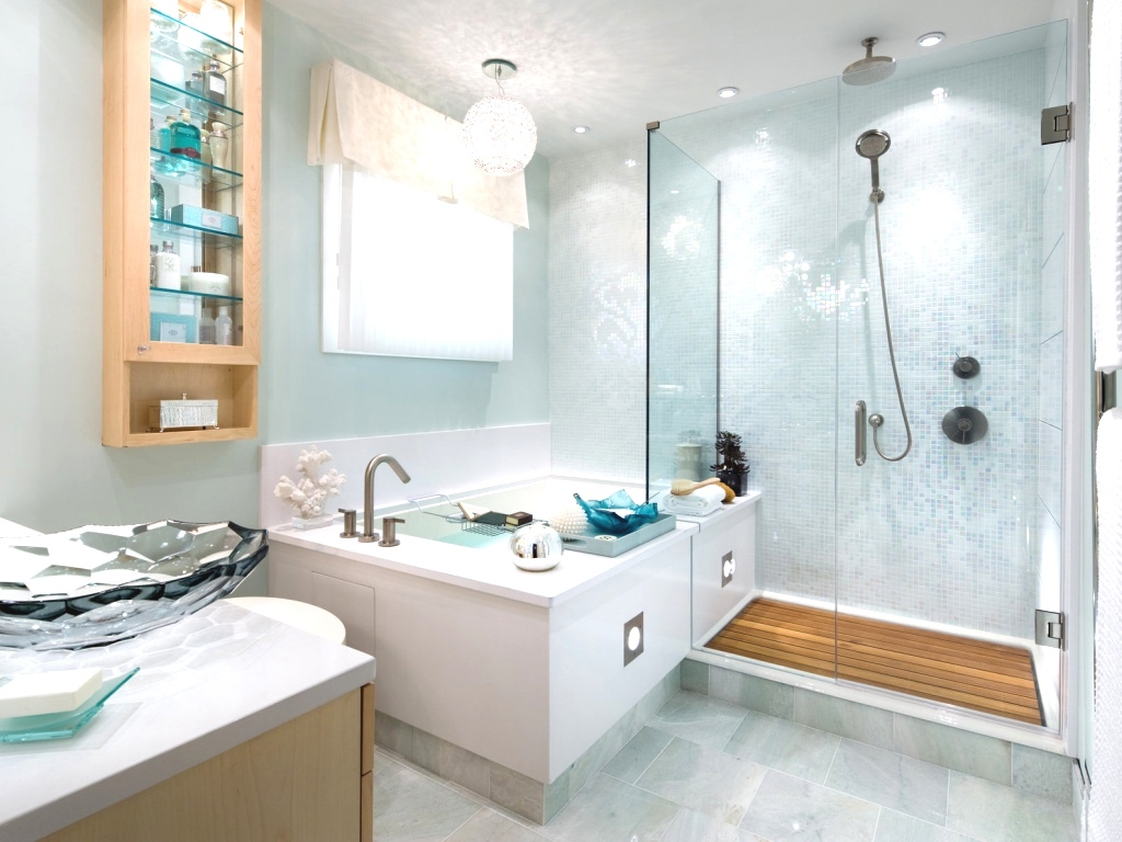 Голубая декоративная штукатурка в отделке ванной