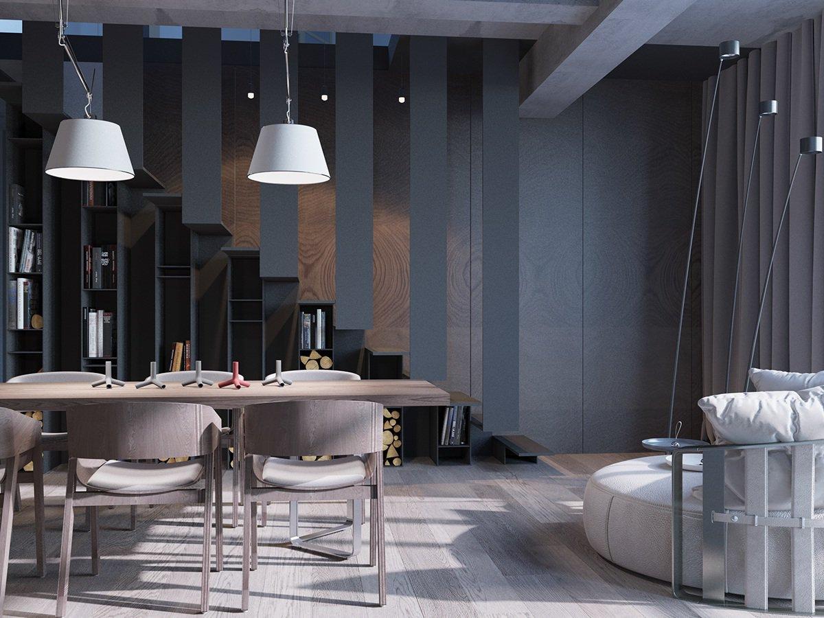 Круглый диван в большой кухне