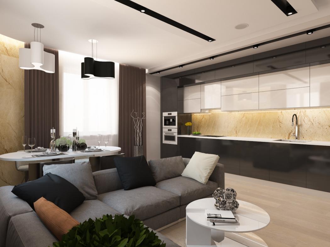Серый угловой диван в кухне-гостиной