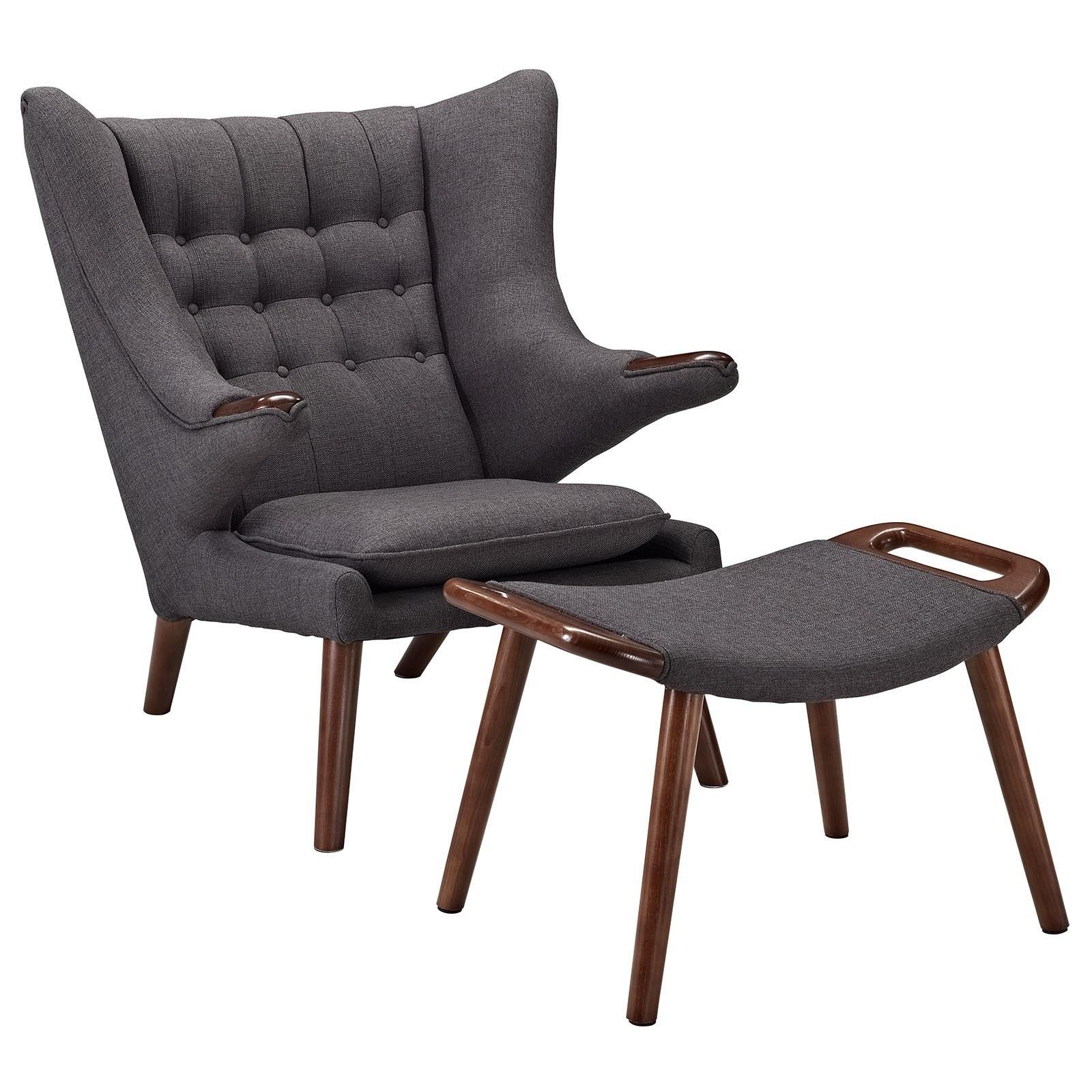 Черно-коричневое кресло с оттоманкой