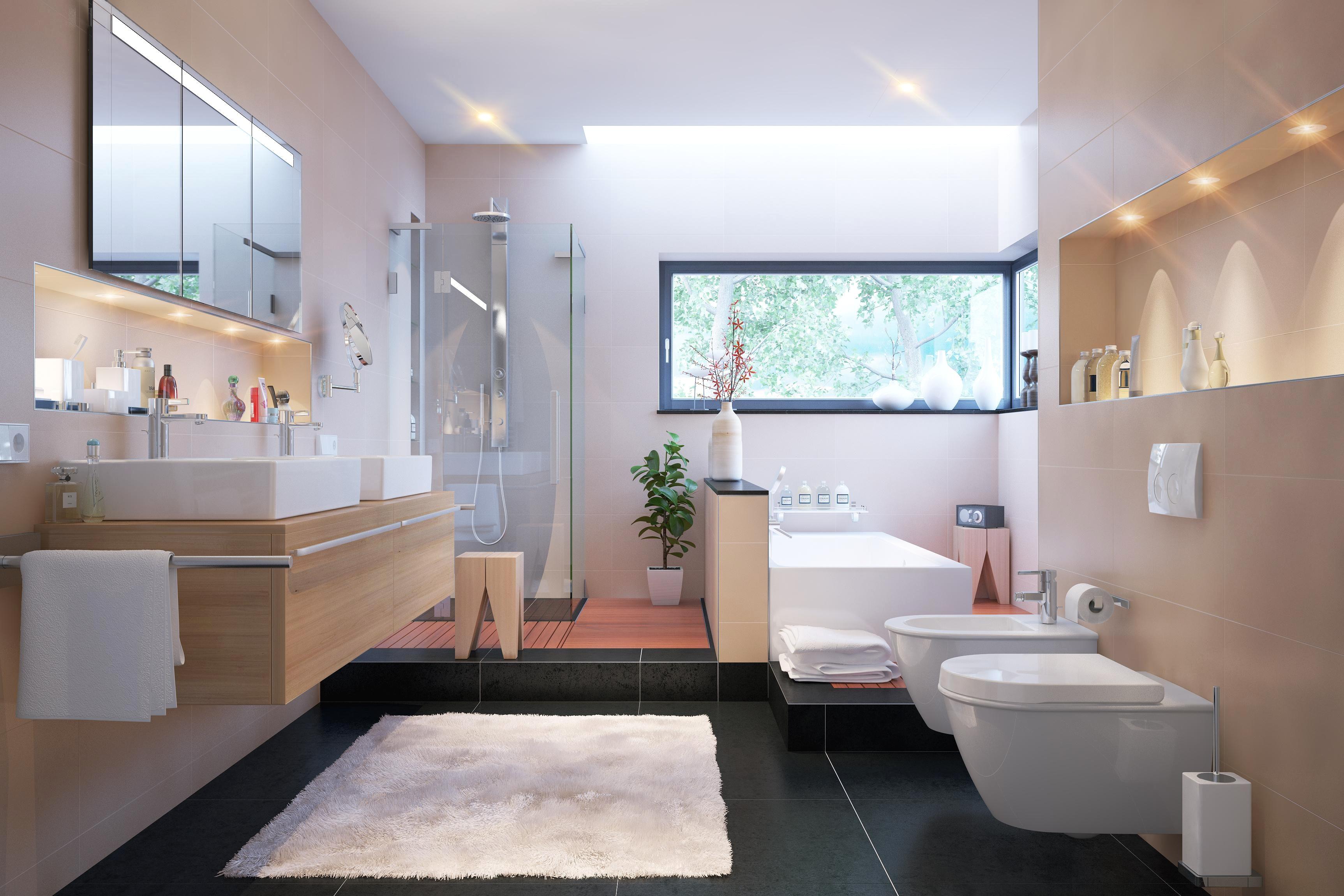 Бежевая ванная комната дизайн
