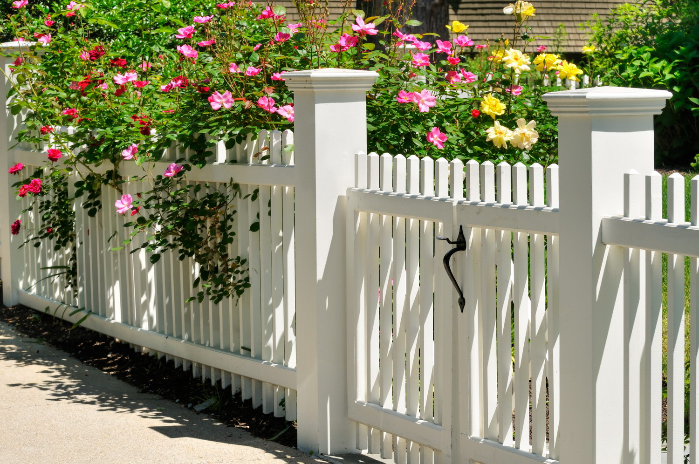 Белая деревянная калитка и забор
