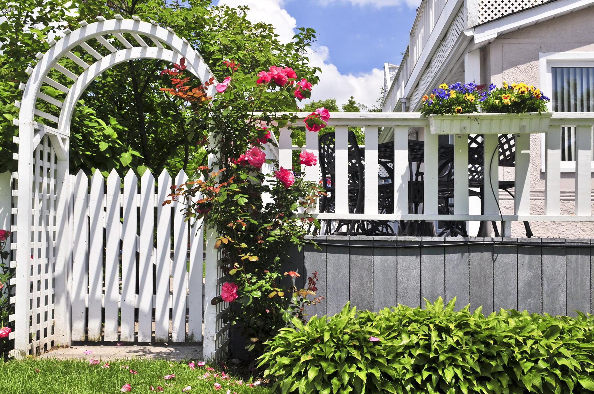 Деревянный белый забор и калитка с аркой