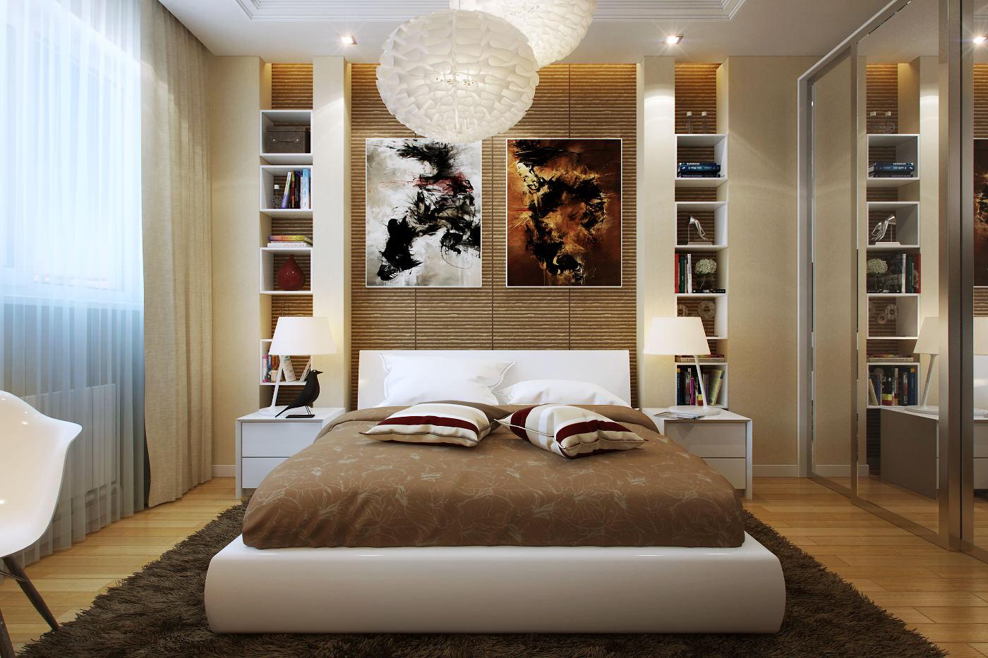 Коричнево-бежевый дизайн спальни 14 кв м