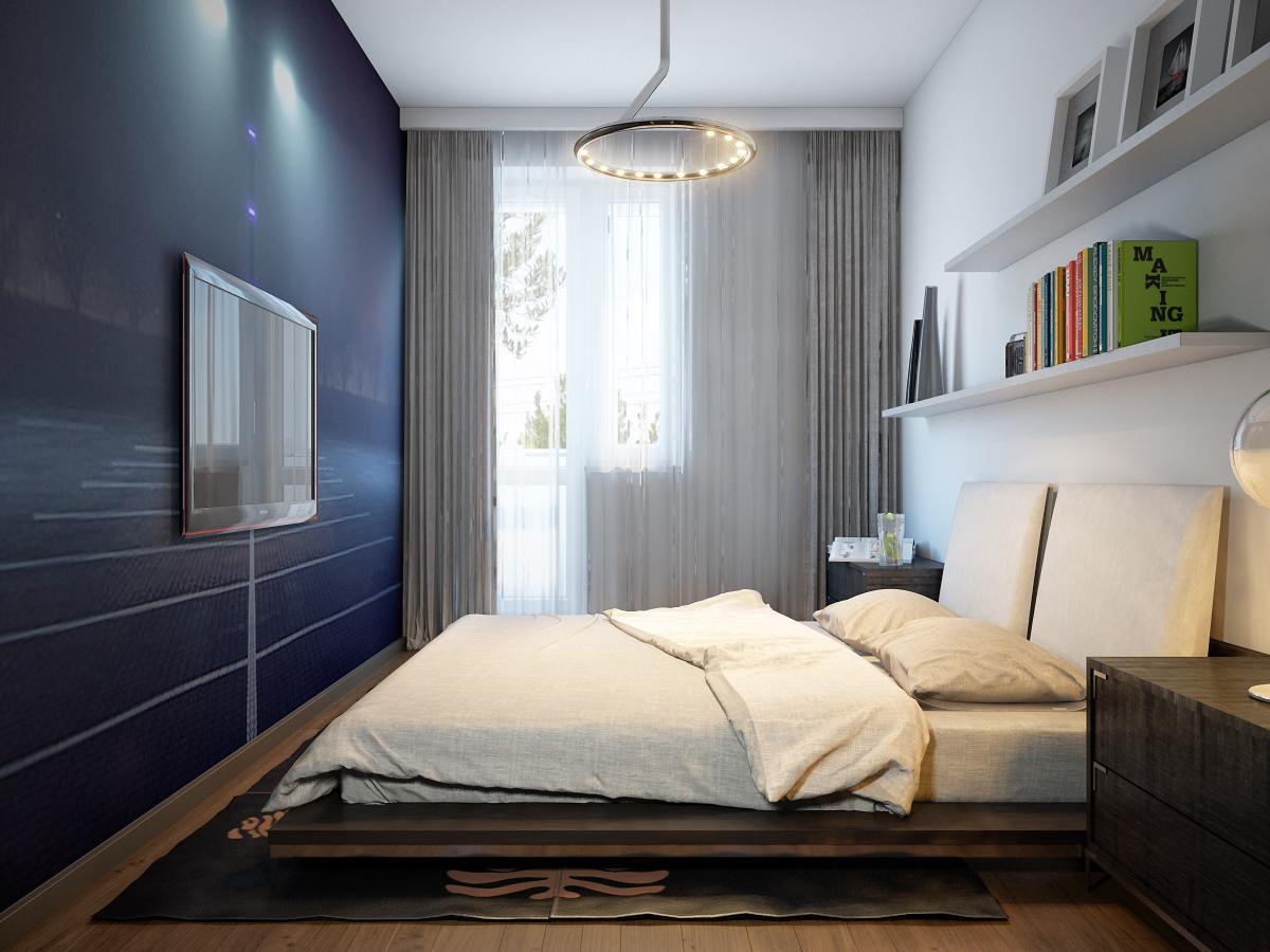 Синяя стена в дизайне спальни