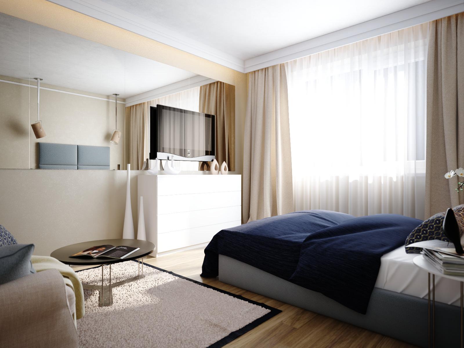Бело-бежевая спальня 13 кв м
