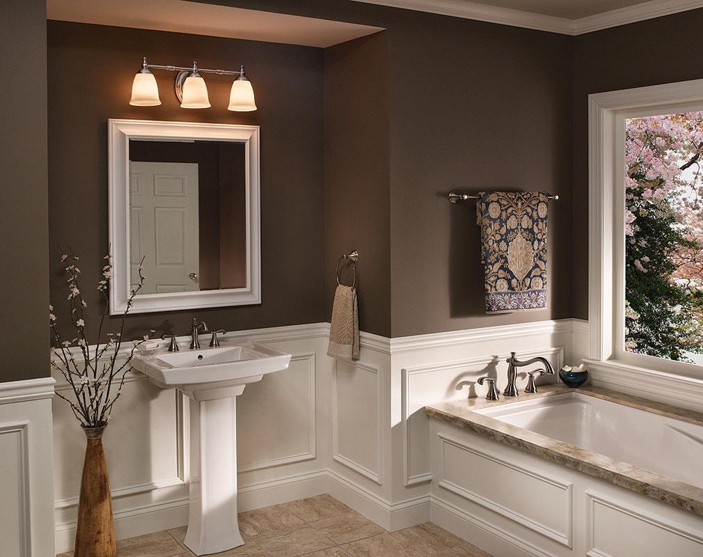 Коричневая краска в дизайне стен ванной