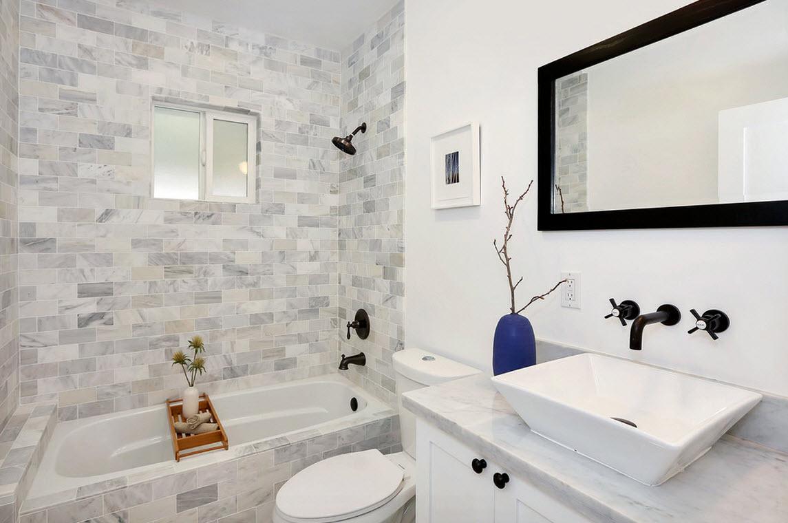 Камень и краска в дизайне стен ванной