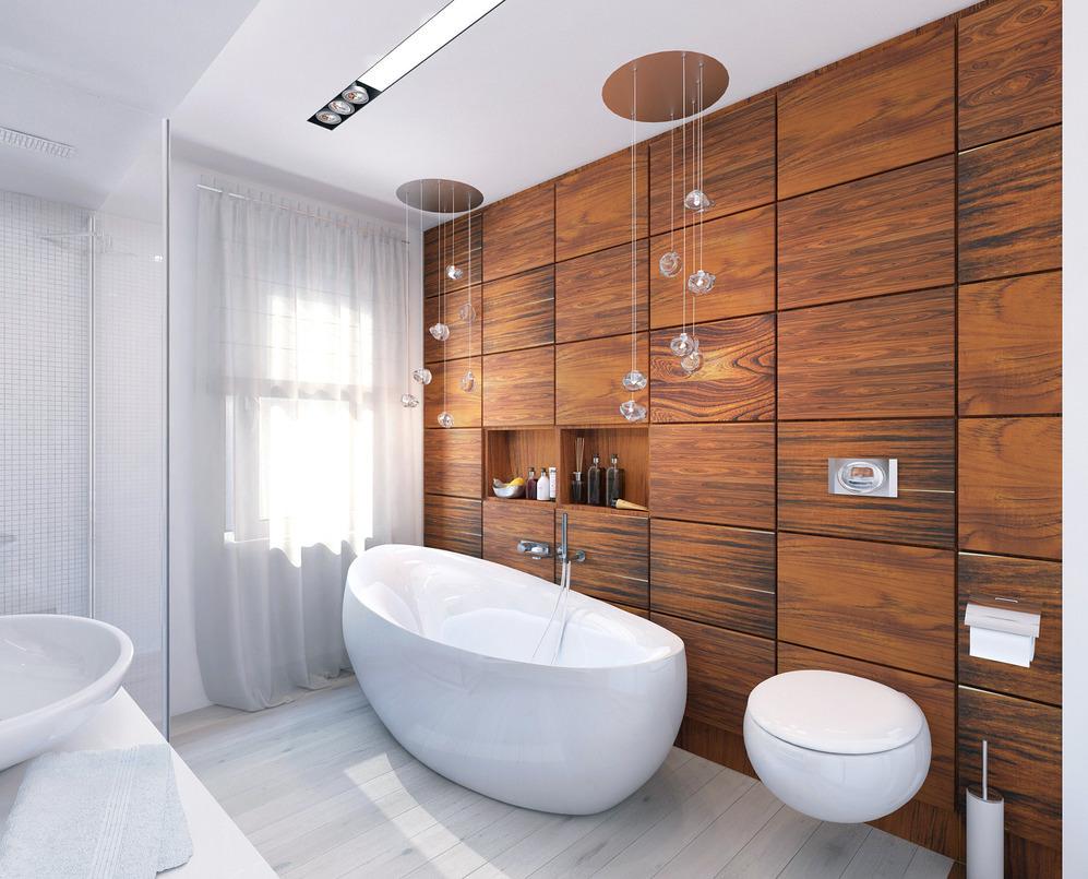 Деревянная стена и белая мозаика в дизайне стен ванной
