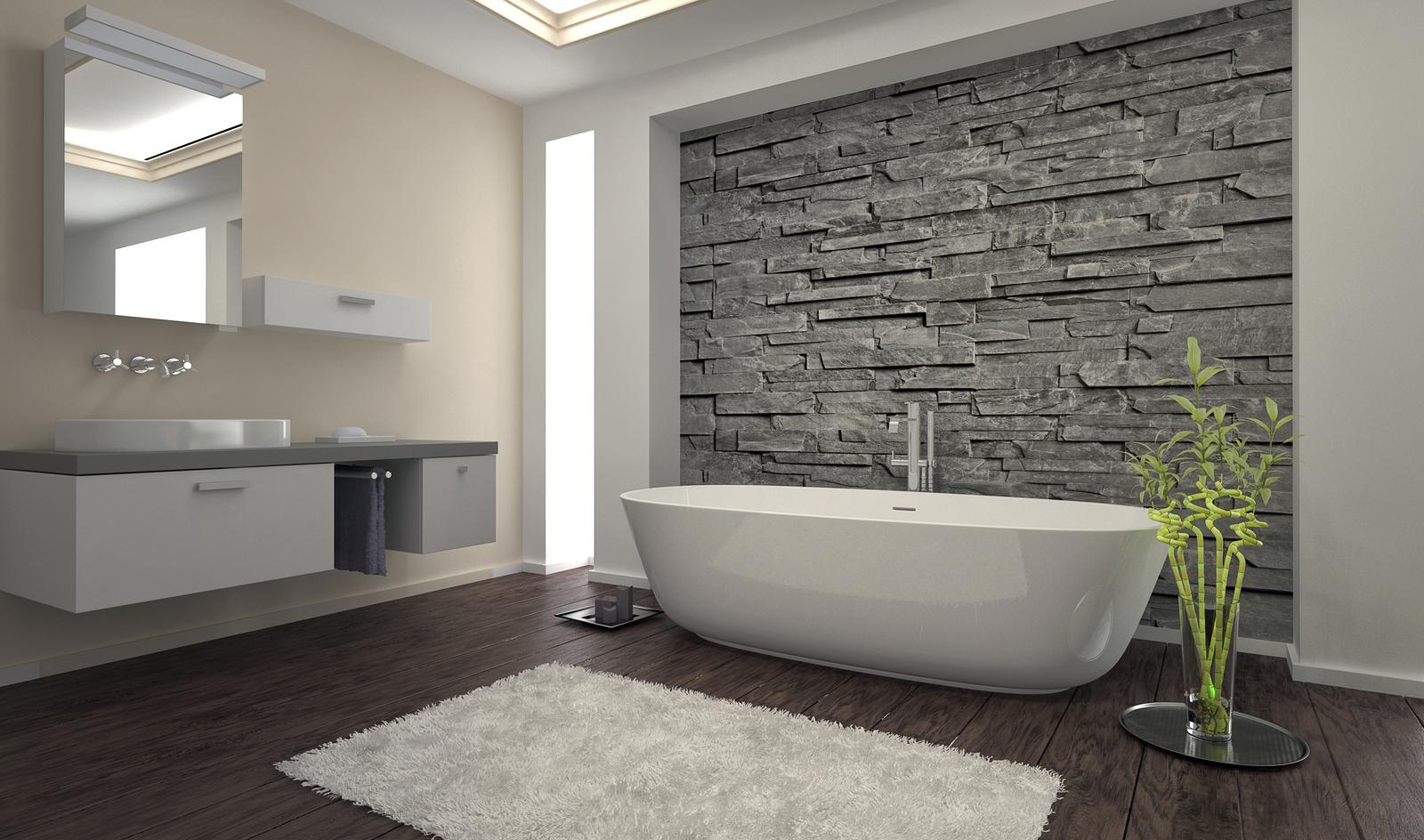 Серый декоративный камень в дизайне ванной комнаты