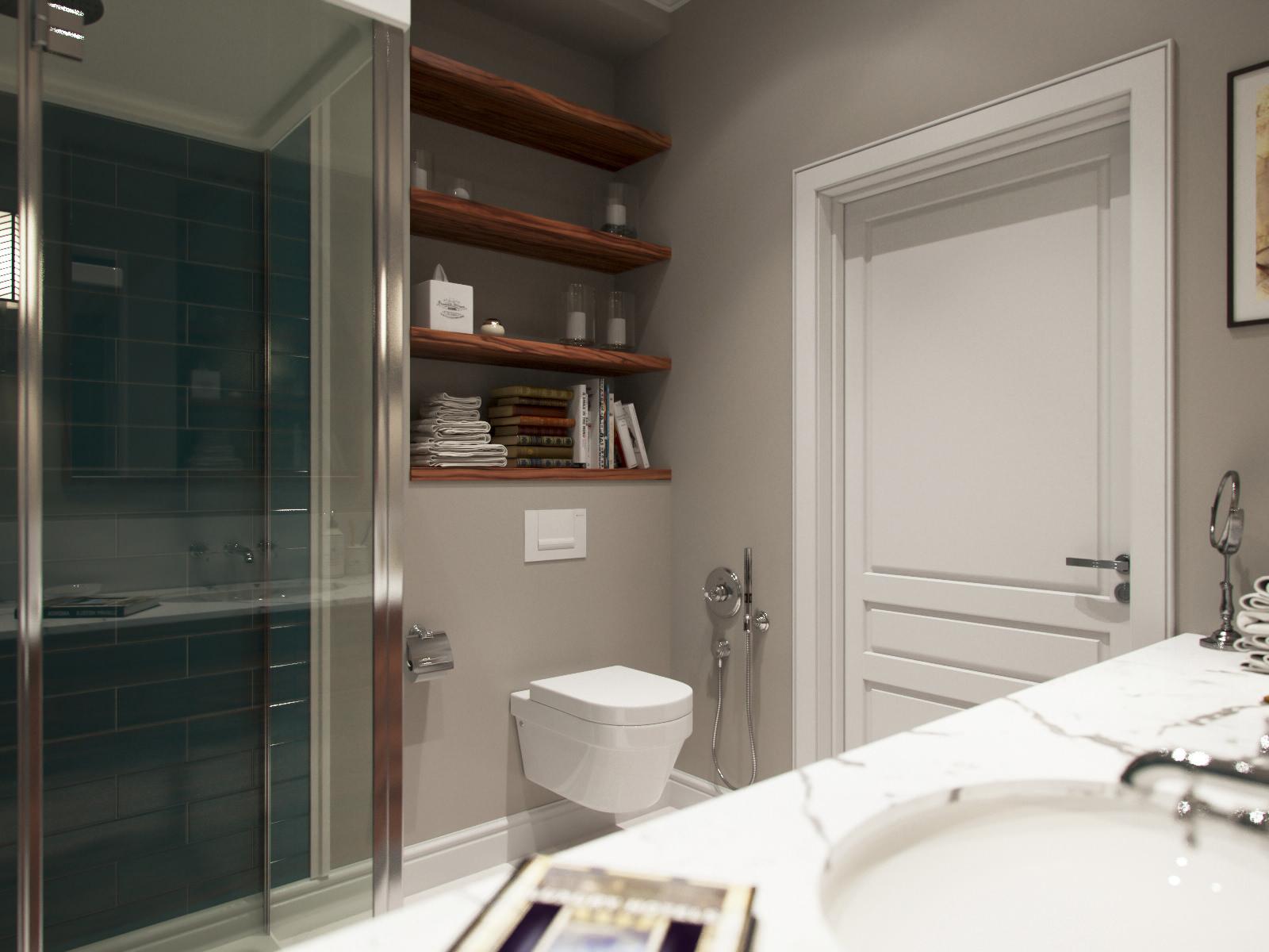 Красивая серо-белая ванная