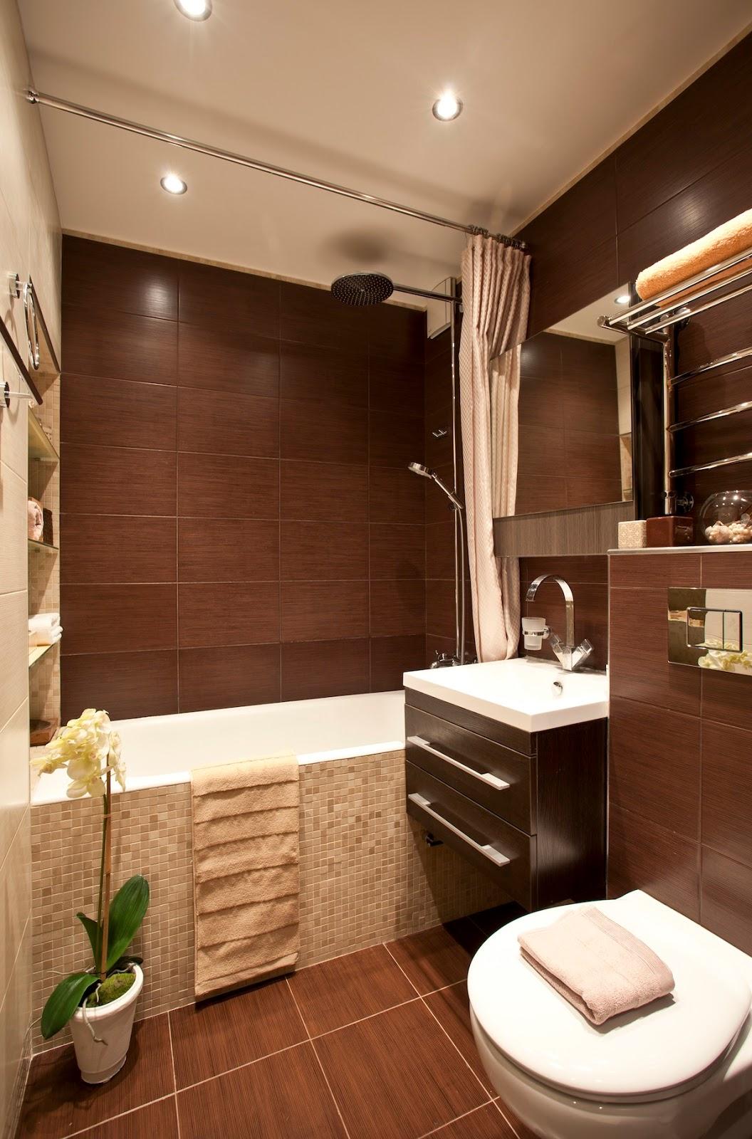Уютная коричнево-бежевая ванная