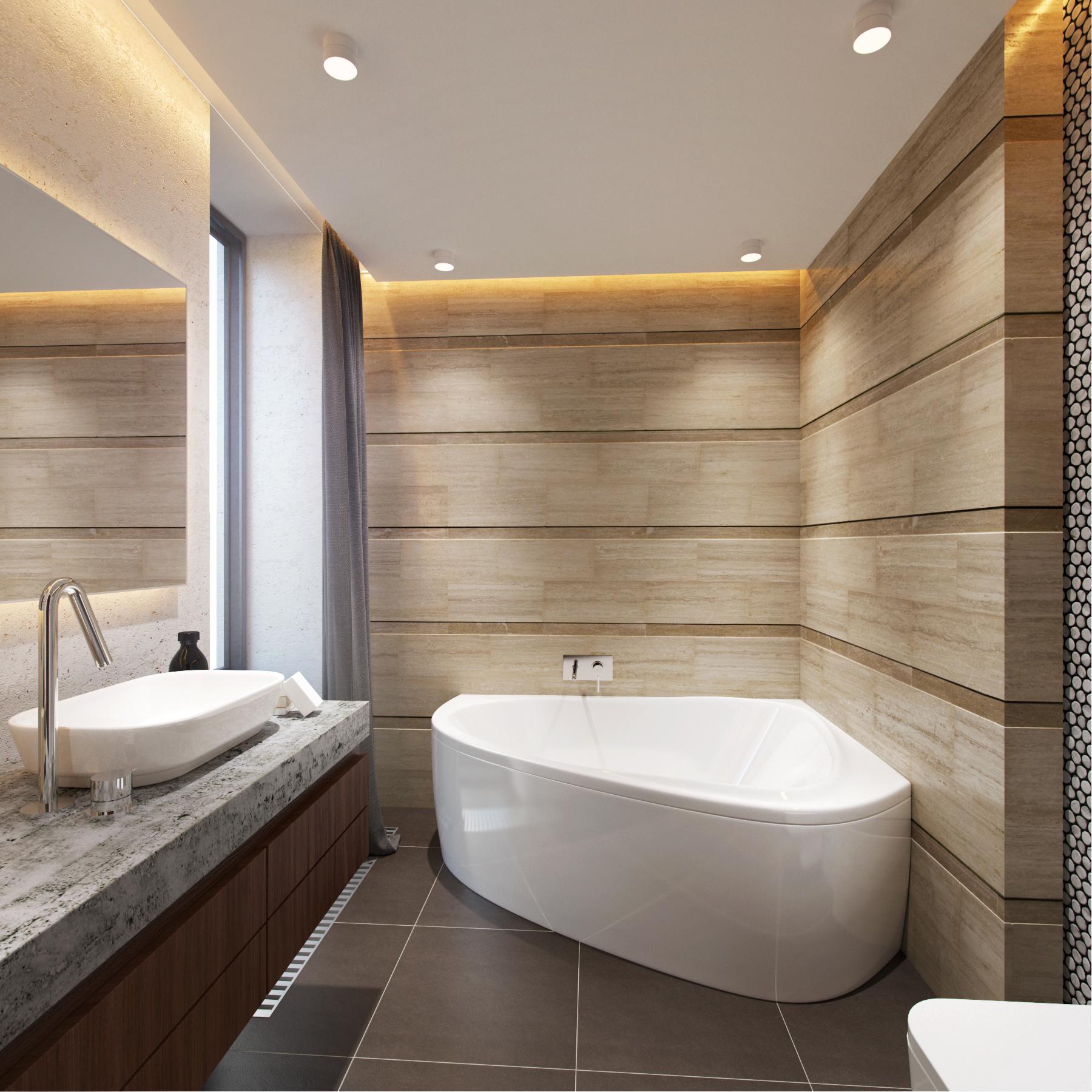 Стильная современная ванная комната с угловой ванной
