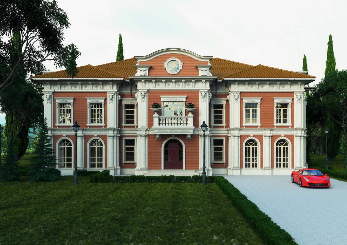 Роскошный двухэтажный дом в классическом стиле