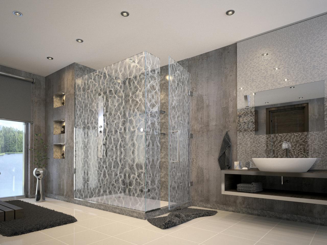 Стеклянный душ без поддона в ванной